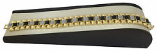 Mens 14k Gold GP & Silver W/ Black Onyx Sand Inlay Birdman 16mm Bracelet 8.5 #l