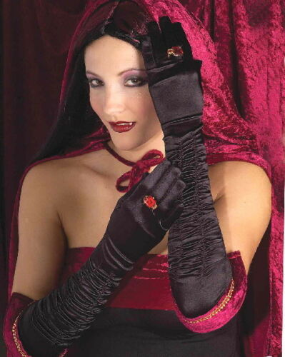 Vampiress Black Elbow Gloves with Red Gem Rings Goth Cosplay Dracula NEW SEALED