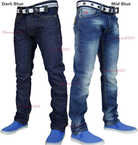 Nuevo Para Hombre Crosshatch Pierna Recta Jeans Azul Oscuro Pequeño Tamaño King Size
