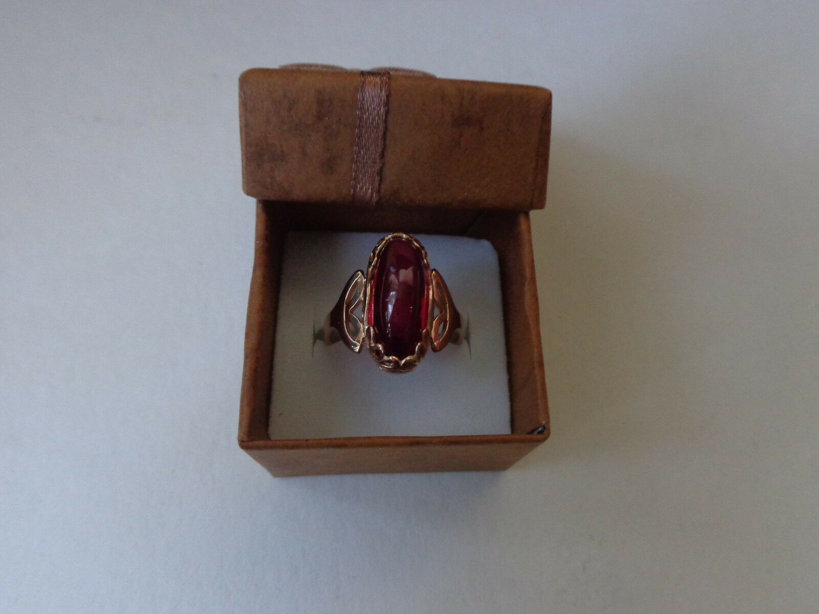 Vintage Soviet pink gold Ring 14K 583 Red Ruby Size 8 (18.25 mm) Russian USSR