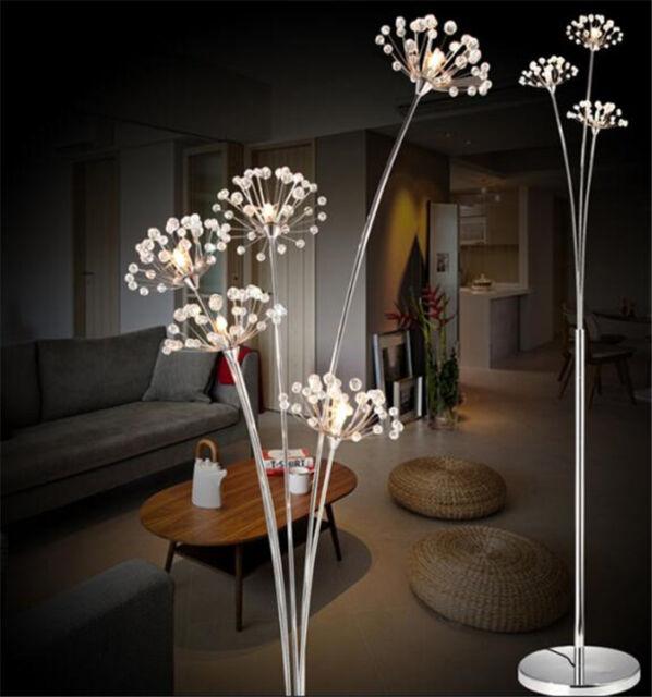 Crystal Dandelion Led Modern Living Room Floor Lamp Chrome Bedroom Landing Light Ebay