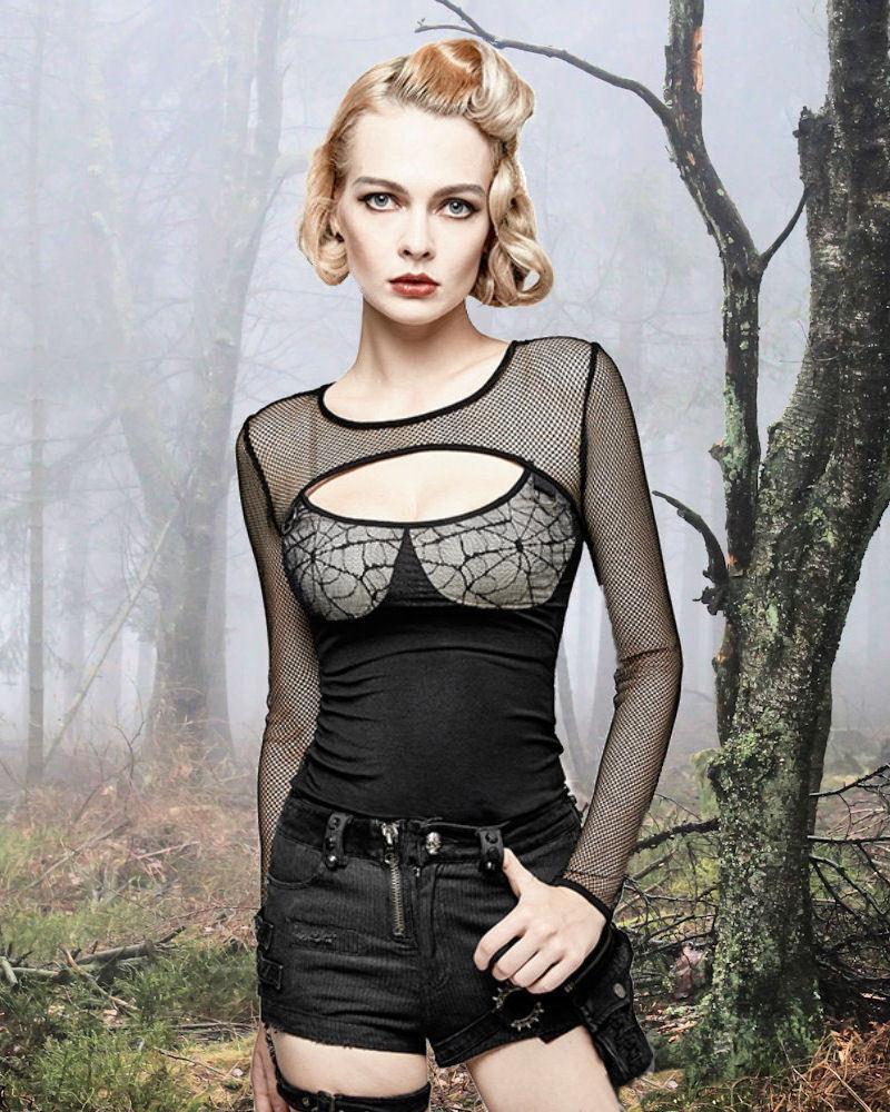 Gothic Nugoth Shirt Top Blause Cobweb Victorian Vampir Punk Rave Netz M L XL XXL | Großer Räumungsverkauf