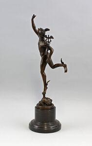 9937343-ds Scultura Bronzo Giovanni Bologna Figura Merkur in Volo H40cm