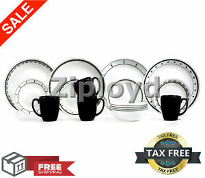 Corelle-Livingware-Black-and-White-16-Piece-Dinnerware-Set-Top-Quality-Brand-New