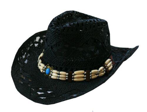 Strohhut Westernhut Gr.55-56 M schwarz formbar m Hutband türkis Cowboy Fasching