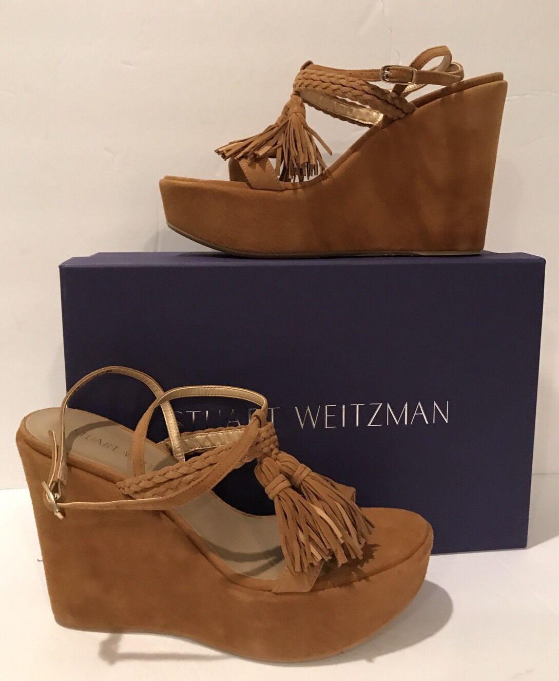 Stuart Weitzman tasselmania camel camel camel compensé espadrille plateforme Fringe Sandal sz 6.5 753dd7