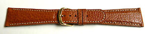 22mm FLEURUS GENUINE BUFFALO - TAN PADDED LEATHER WATCH BAND - CONTRAST STITCH