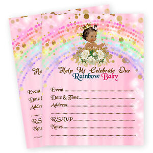 Image Is Loading Rainbow Girl Baby Shower Invitations Miracle 1st First