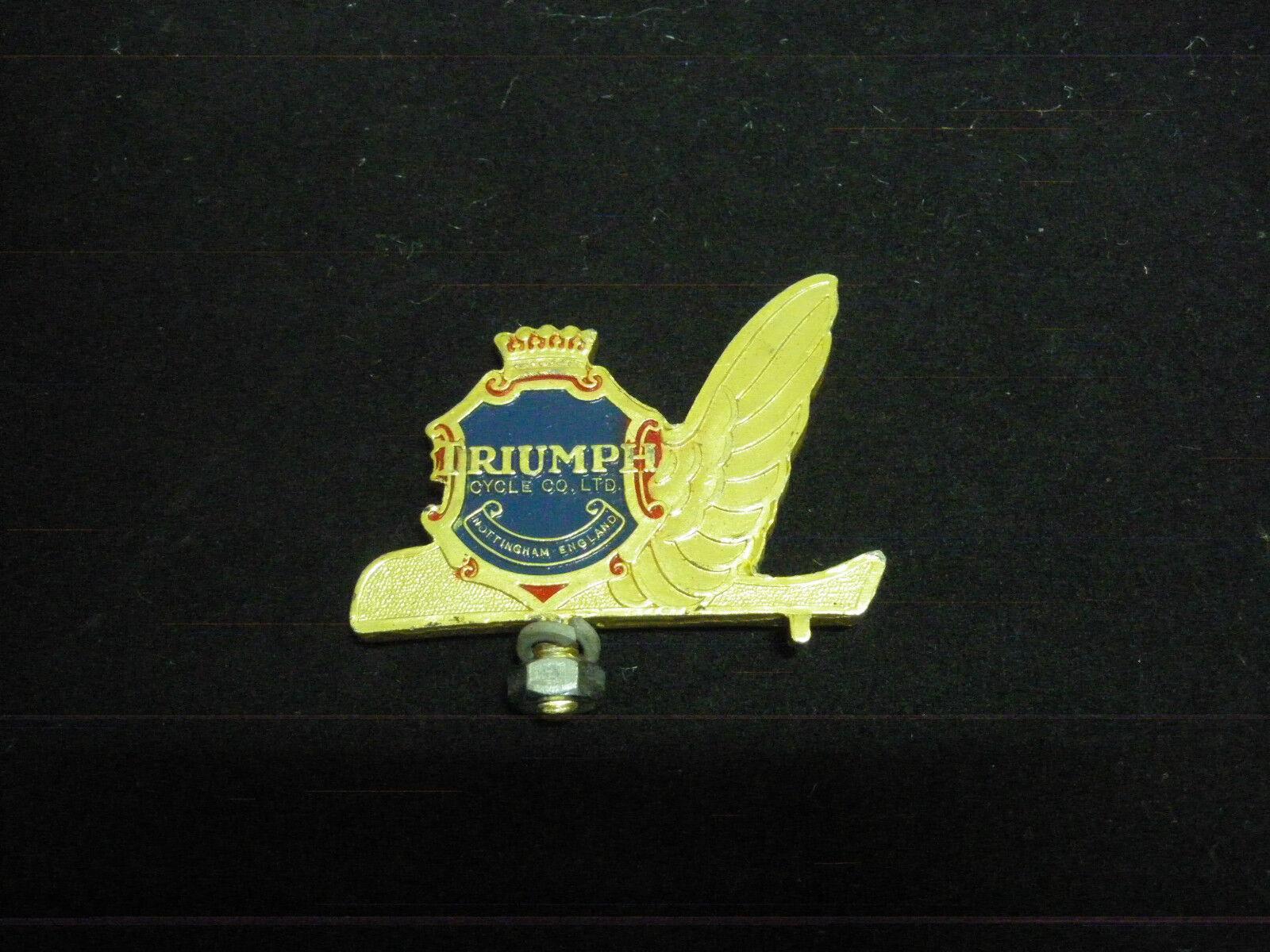 Vintage TRIUMPH  Bicycle  Mopet front mudguard Emblem Badge Bike gold NOS 1950s