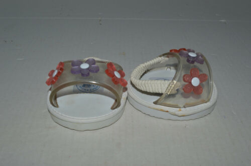 Build A Bear Shoes~Sandals~White With Wide Clear Band Holding 3 Pretty Flowers