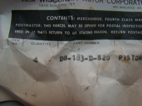 Wisconsin AGH AG Piston 020 DB183 D S20 1 cyl Fits VG4D VP4 4 cyl NOS OEM USA