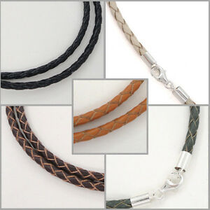 Sterling-Silver-3mm-Braided-Genuine-Leather-Cord-Necklace-Bracelet-Lobster-Clasp
