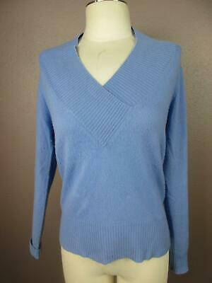 Just Cashmere by Forte Size M Blue Womens 100% Cashmere Top V Neck Sweater 393   eBay