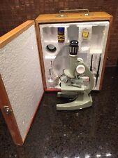 Vintage Tasco Junior Microscope 75X 300X 600X Green W/ Accessories & Wood Case