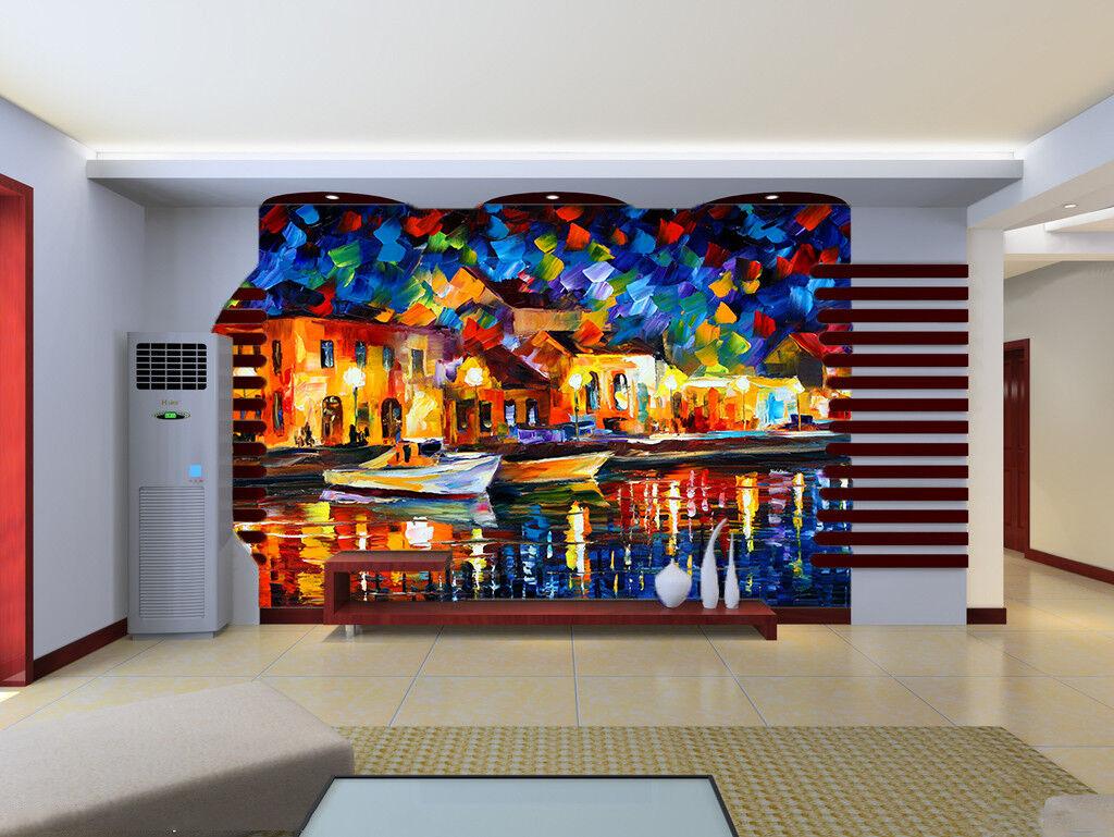 Papel Pintado Mural De Vellón Barco De Ciudad Agua 112 Paisaje Fondo De Pansize