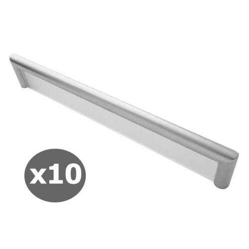 10 x Frosted Matt Chrome Cosmopolitan 192mm Furniture Bar Door Pull Handles