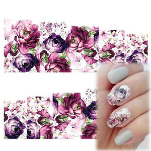 Beauty Nail Art Water Decals Stickers Transfers Deep Purple Flowers