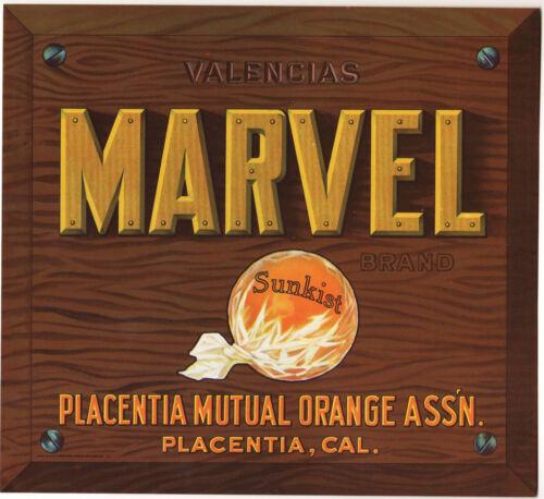 *Original* MARVEL Placentia Western Orange Crate Label NOT A COPY!!