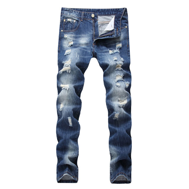 IWOLLENCE Mens Fashion Ripped Distressed Straight Fit Denim Shorts with Hole