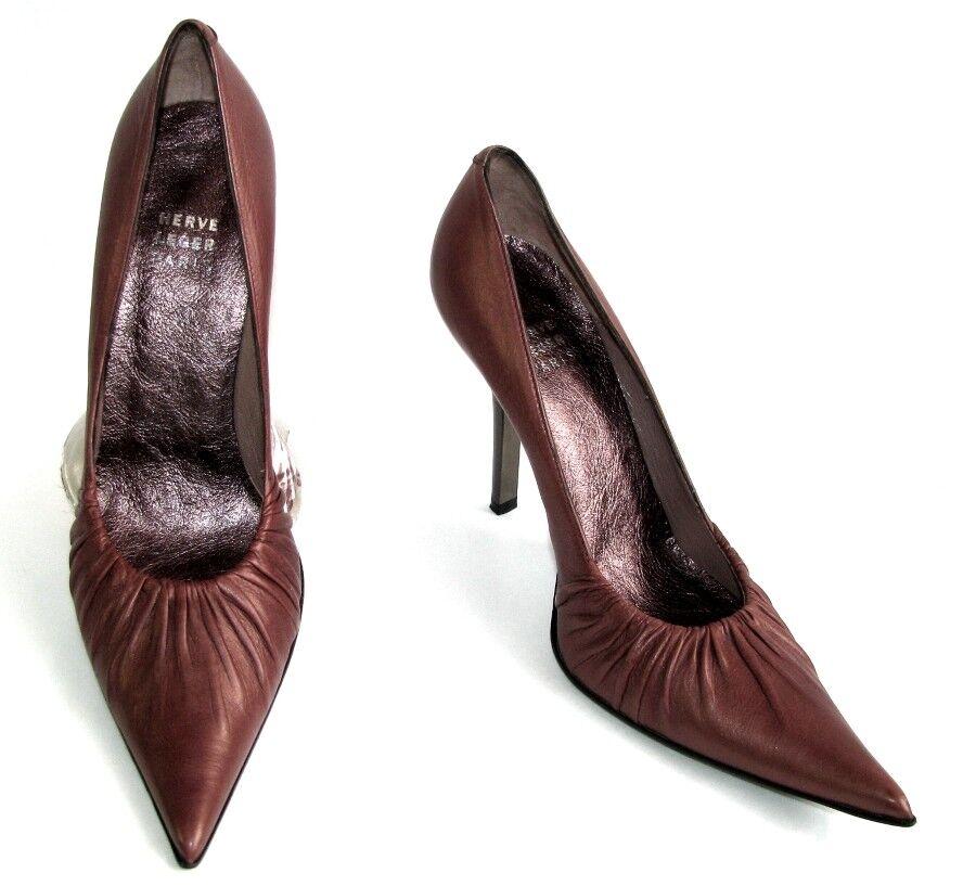 HERVE LEGER Escarpins tout cuir vieux rosa foncé reflets or 37 EXCELLENT ETAT | Eccellente  Qualità  | Gentiluomo/Signora Scarpa