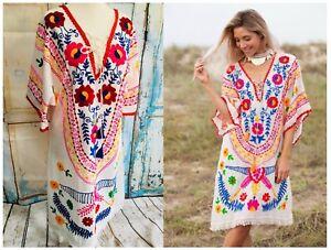 lavoro bianco Bnwt M ricamato Resort L Dress Xl S Boho Festival messicano manuale 5RRSnAq