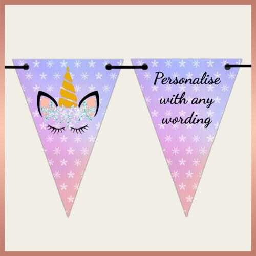 Personalised UNICORN Xmas BUNTING Banner Party decoration Birthday Hen Night