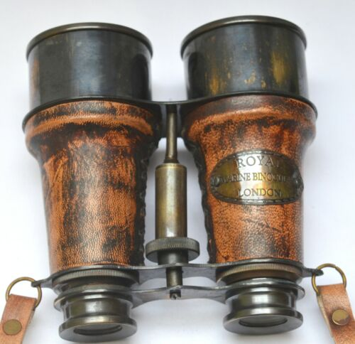Marine Antique Finish Brass Made Binocular With Leather Box-Royal Marine London