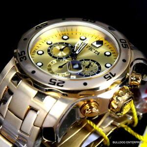 4a4623717e6 Men s Invicta Pro Diver Scuba 18kt Gold Plated Steel Chronograph ...