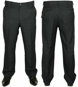 Mens-New-Farah-Trousers-Flexi-Elastic-Navy-Blue-Smart-Casual-Formal-Pants-34-46
