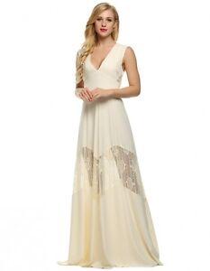 71e782243887 Caricamento dell immagine in corso vestito-maxi-abito-lungo-donna-beige- trasparente-evento-