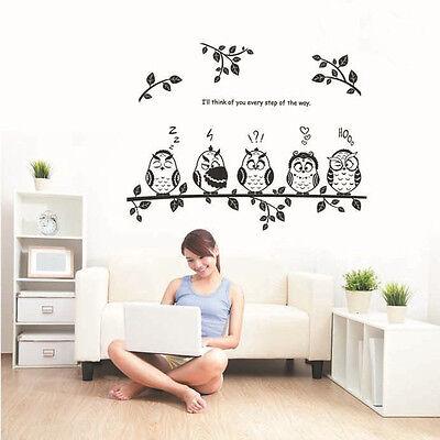 Childrens Kids Boys Bedroom Nursery Cute Owl Tree Animal Wall Art Decor Sticker