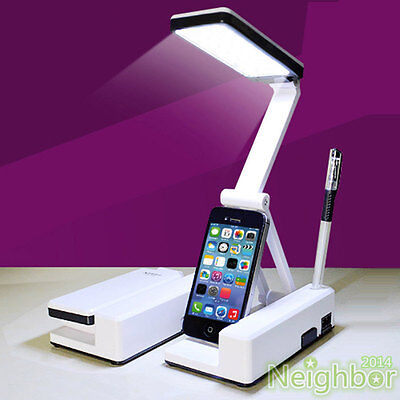 Blue Rechargeable LED Table Lamp Rotatable Foldable Desk Lamp Reading Light