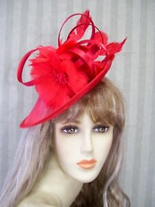 235d6cc26cd Image is loading Red-Sinamay-Fascinator-Red-Society-Hat-Horse-Racing-