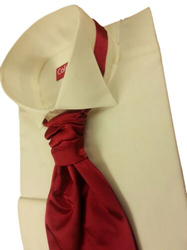 SLIMMER FIT IVORY Edwardian Downton Abbey Style Wing  Dress Shirt 14.5-18  NWT