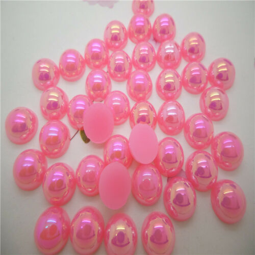 8mm 200 pcs Half Pearl Round Beads Flat Back Scrapbook for Craft a lots color AB