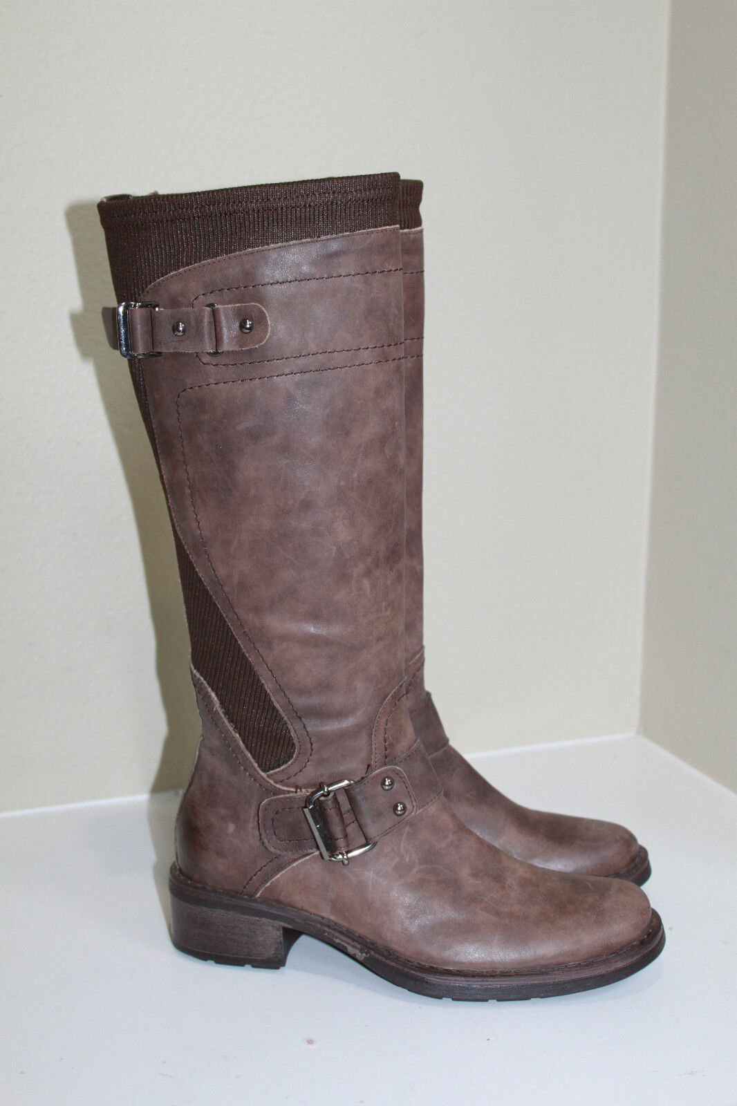 sz 5.5 Aquatalia by Marvin K Star Weatherproof Brown Leather Buckle Boot Shoes