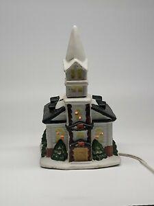 Ceramic-Christmas-Church-W-Light-Village-Building-retailer-see-descriptio