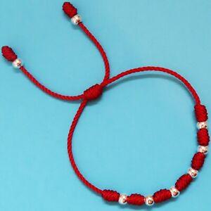 diseño de calidad 11728 bff91 Detalles de Pulsera roja de 7 nudos de la suerte de hilo y cuentas  plateadas hombre y mujer