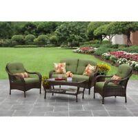 Patio Furniture Conversation Set 4-piece Outdoor Garden Deck Green