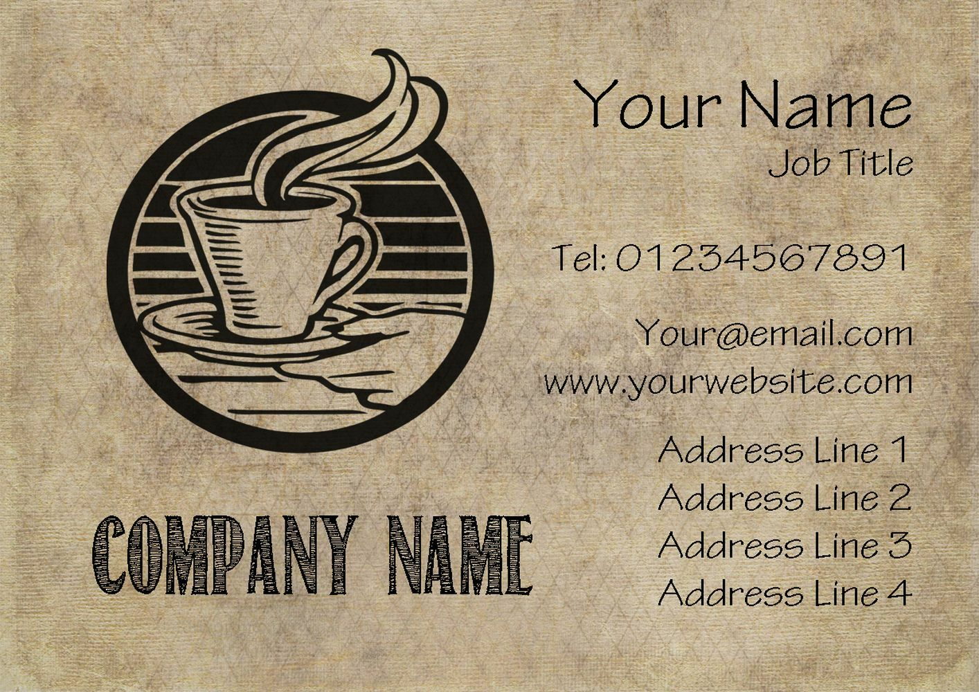 Cafe Coffee Personalised Business Cards