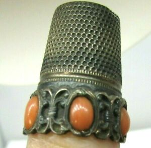 Antique Ornate Thimble .800 Silver With Pink Coral Cabochons Patinated Victorian