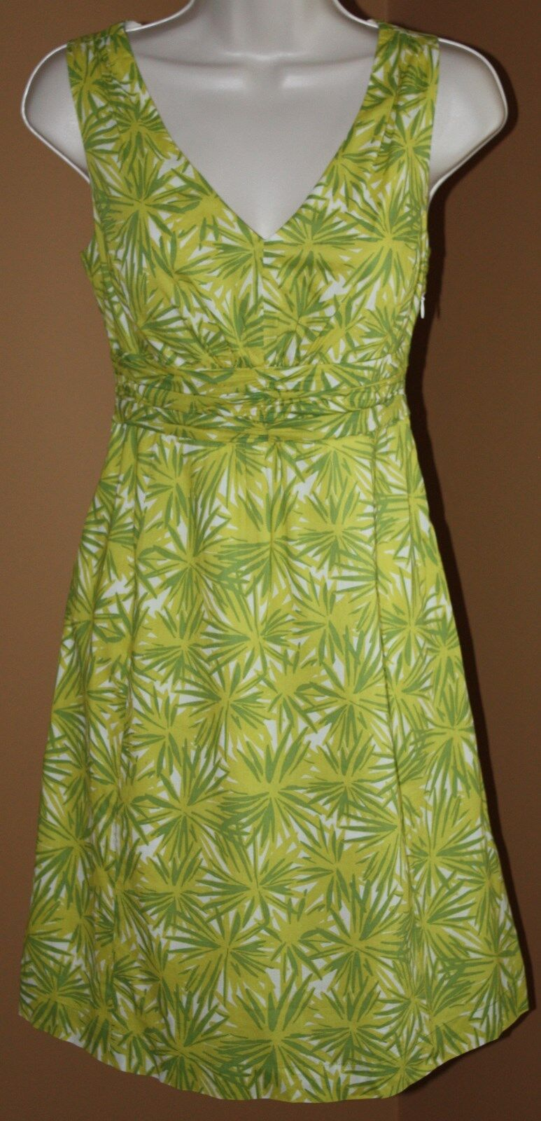 BODEN Chartreuse Grün Starburst Floral Sleevelesss Dress US 2P