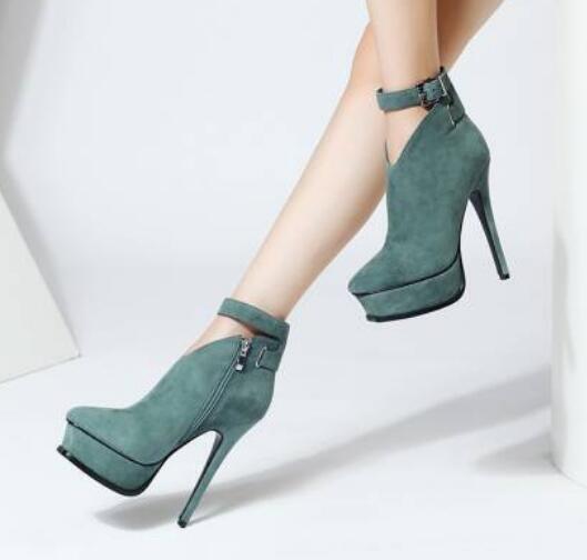 Para Mujeres Mujeres Mujeres Sexy Hebilla Correa Tacones Altos Plataforma botas al Tobillo Zapatos Tacones de aguja caliente  marca en liquidación de venta