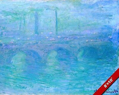 WATERLOO BRIDGE LONDON UK AT DUSK CLAUDE MONET PAINTING ART REAL CANVAS PRINT