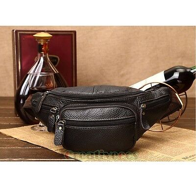 Men's Vintage Genuine Leather Travel Hiking Sling Chest Fanny Pack Waist Bag