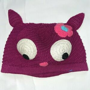 Hanna Andersson Girl size S flower cozy critter knit beanie cap hat