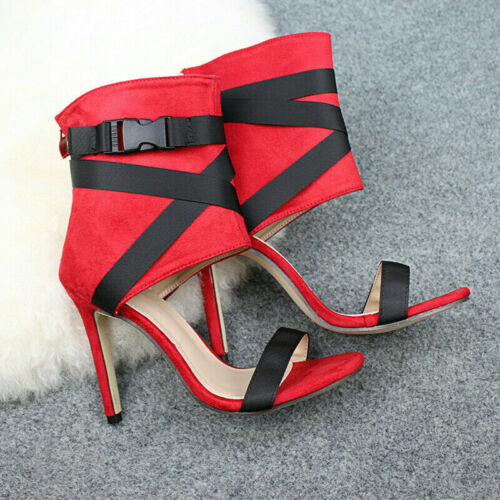 Ladies Peep Toe Zip Ankle Boots Sandals Womens High Heels Cross Strap Shoes Size