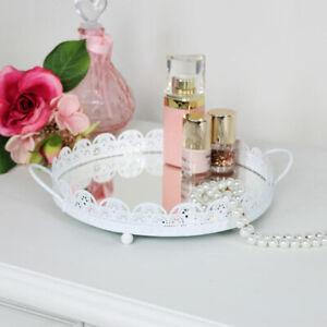 Rund Creme Verspiegelt Schaukasten Kerze Platte Shabby Vintage Chic Wedding Gift