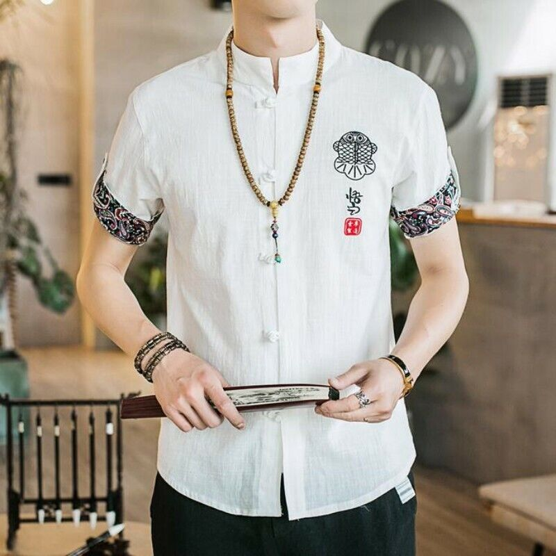 Retro Men Summer T-shirts Cotton Blend Single Breasted Embroidery Casual Tops Sz