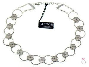 Diamond-Flower-Design-Choker-Necklace-18k-Gold-0-70-ctw-By-Assor-Gioielli